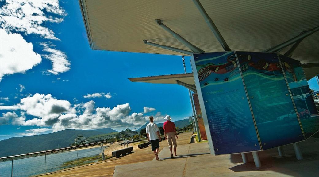 Cairns Esplanade featuring views, signage and general coastal views