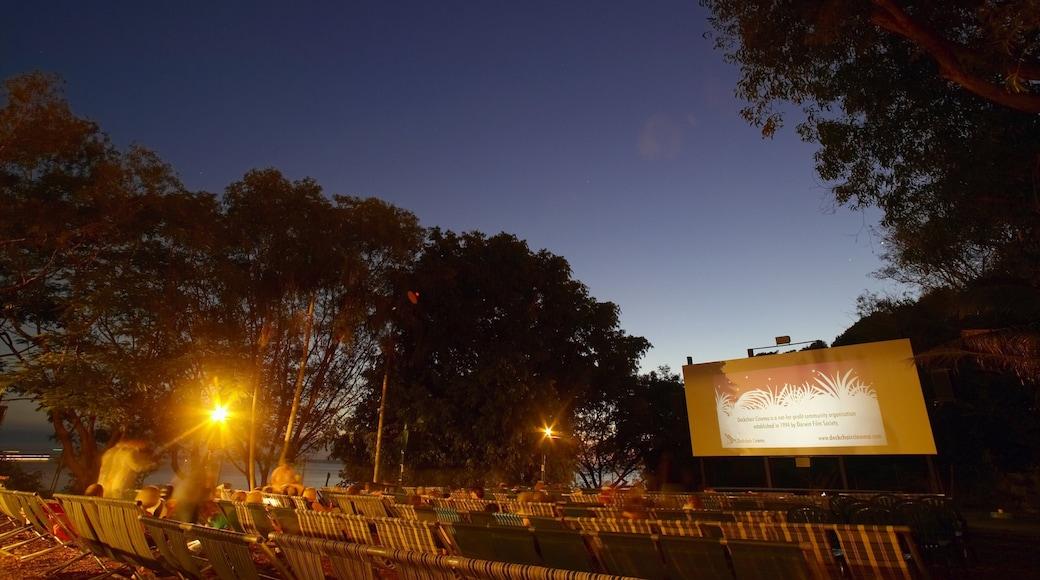 Darwin Deckchair Cinema featuring night scenes, theatre scenes and nightlife