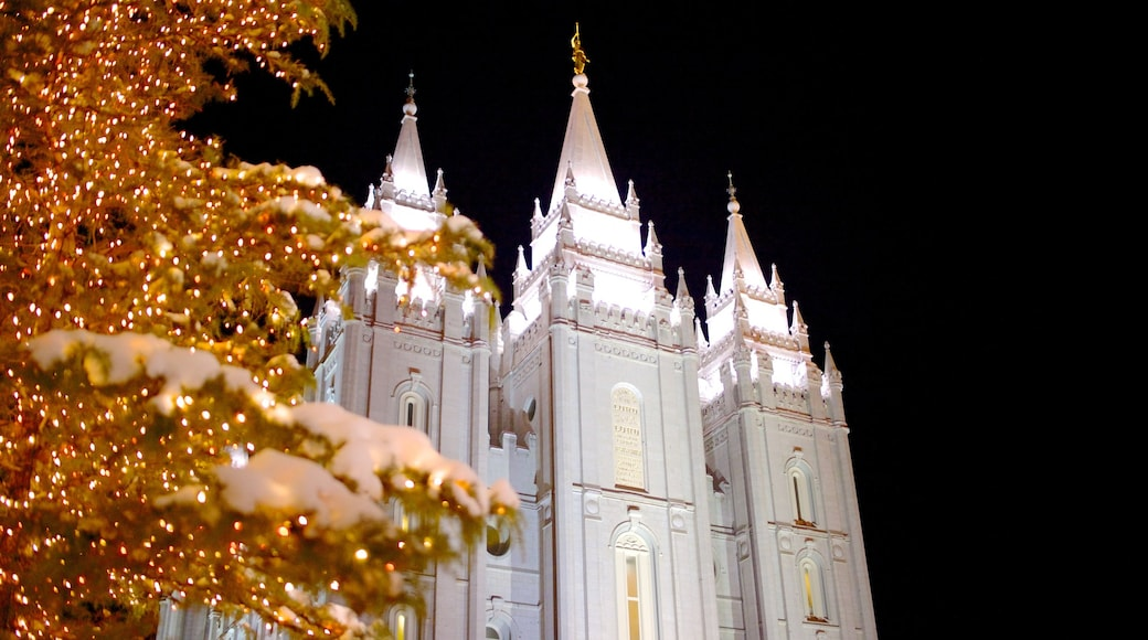Salt Lake Temple featuring a city, night scenes and religious aspects