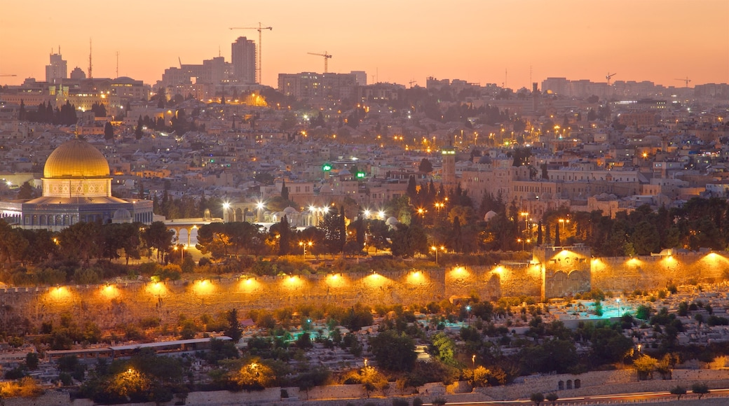 Mount of Olives which includes a city, a sunset and landscape views