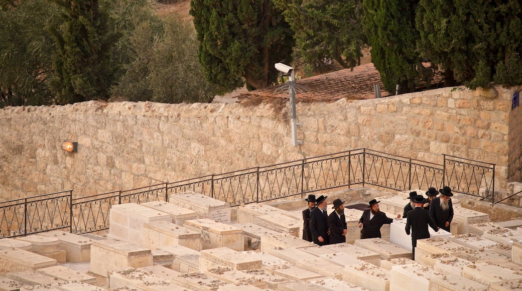 Mount of Olives showing heritage elements as well as a small group of people