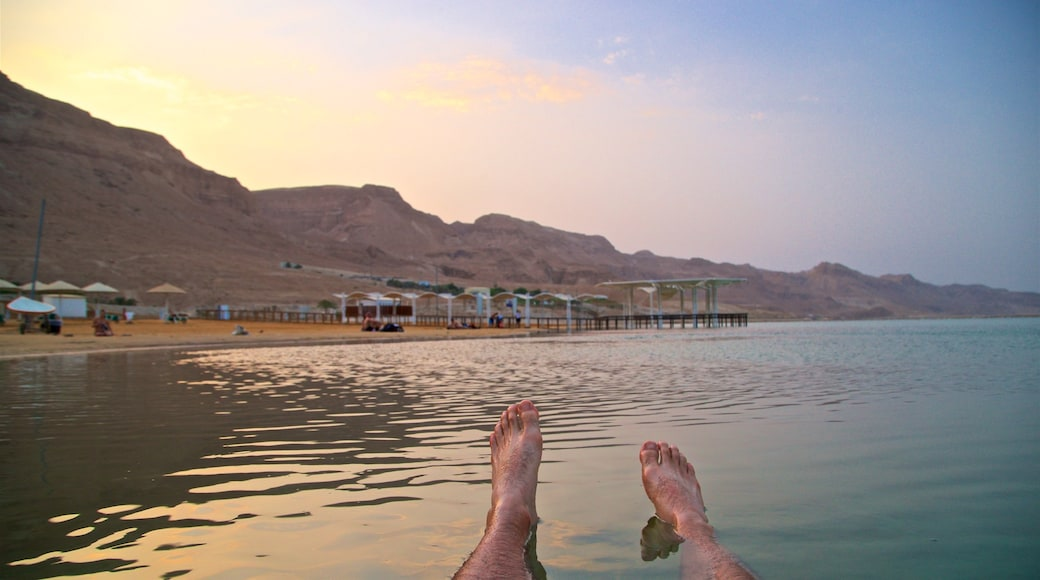 Ein Bokek showing a sunset, general coastal views and a beach