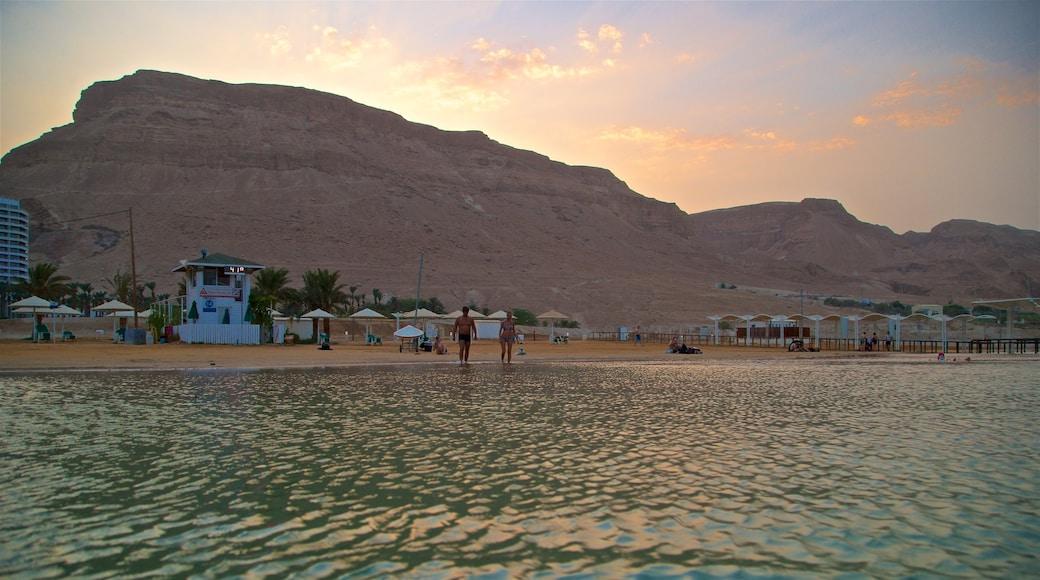 Ein Bokek showing general coastal views, a sandy beach and a sunset