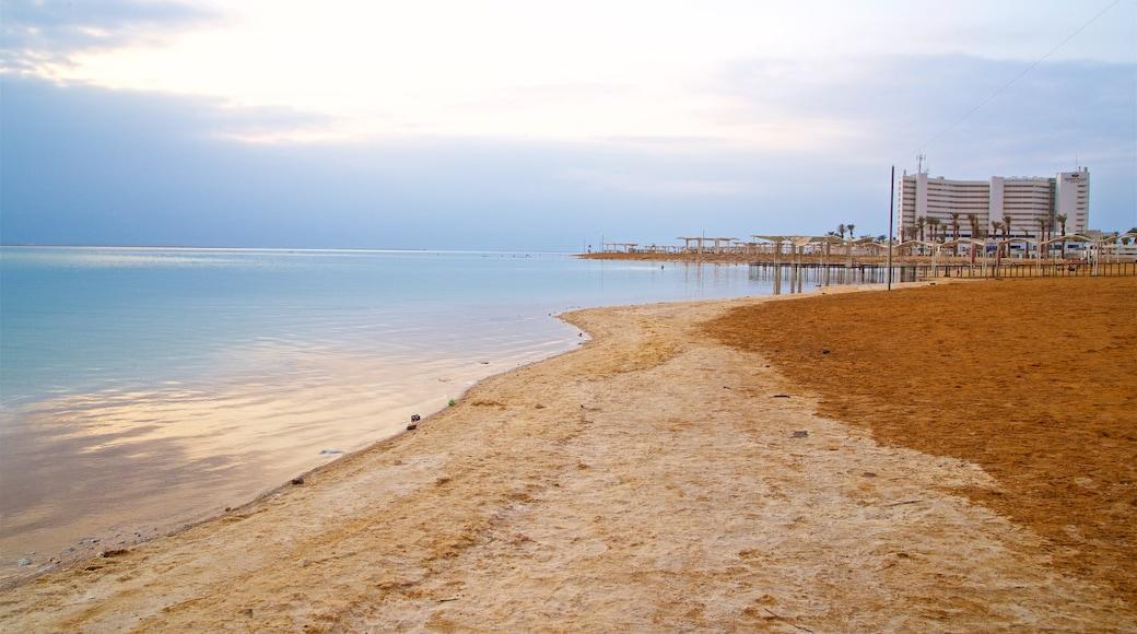 Ein Bokek showing a beach, general coastal views and a sunset