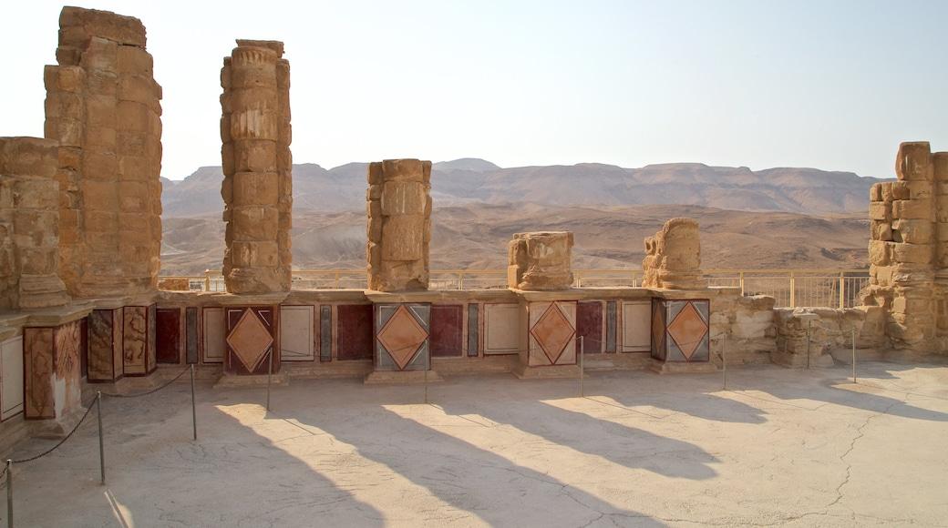 Masadan kansallispuisto joka esittää näkymät, perintökohteet ja autiomaanäkymät