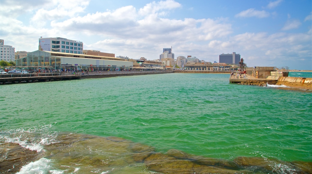 Old Tel Aviv Port which includes a coastal town and a bay or harbor