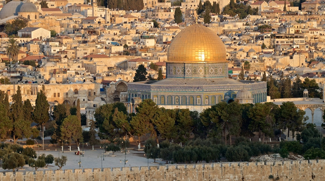 Dome of the Rock which includes a city, landscape views and heritage architecture