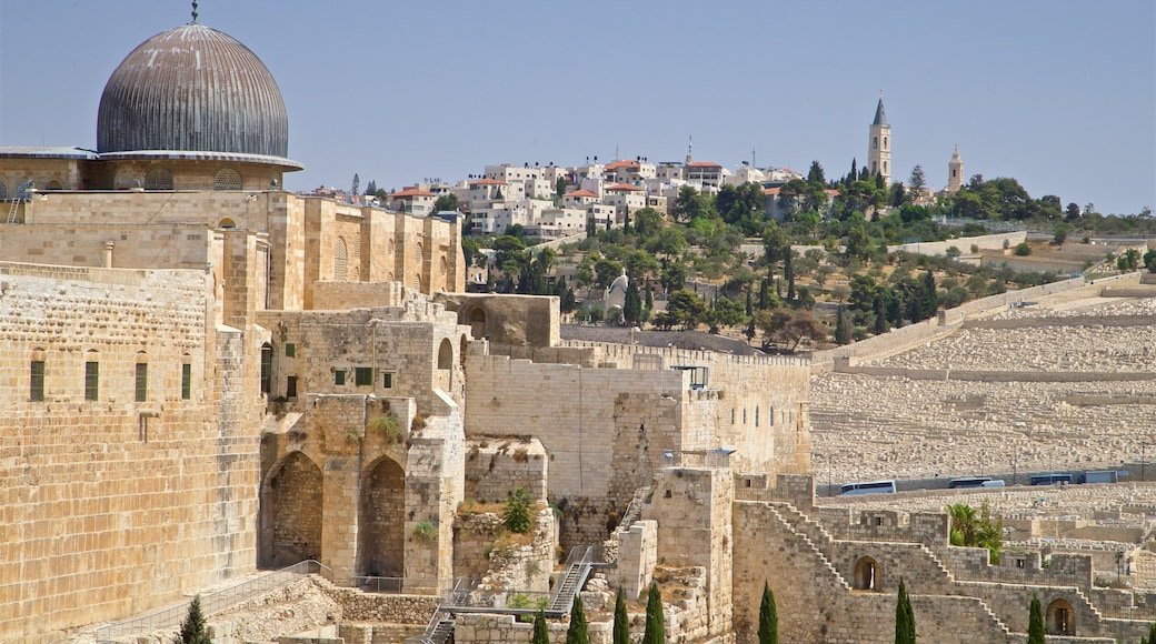 Al-Aqsa Mosque featuring landscape views, a city and heritage architecture