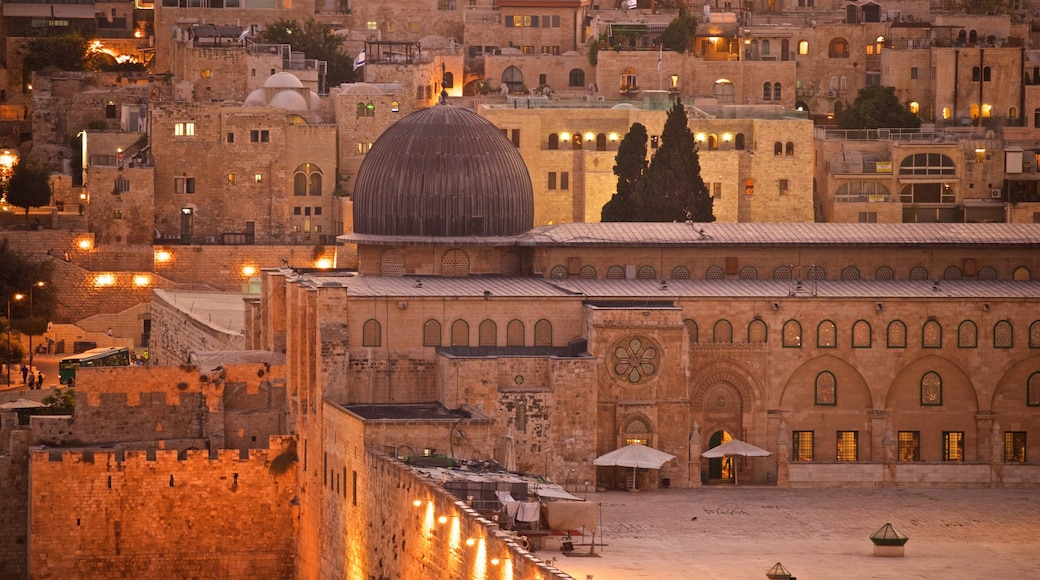 Al-Aqsa Mosque which includes night scenes, landscape views and a city
