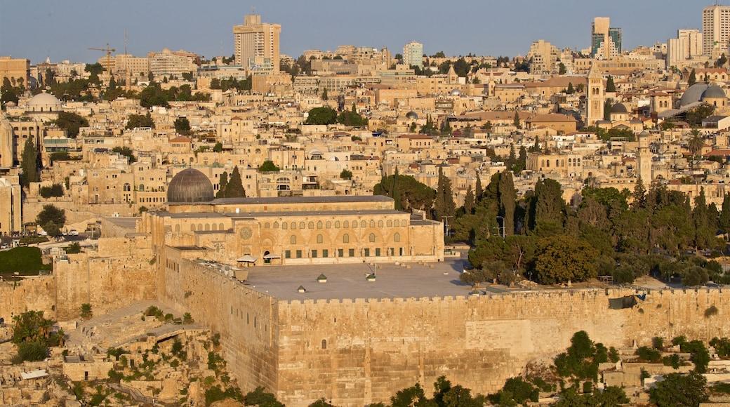 Al-Aqsa Mosque featuring a city, heritage elements and landscape views