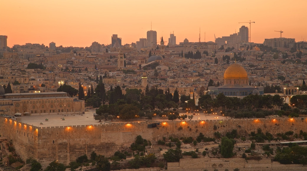 Mount of Olives featuring a city, landscape views and a sunset