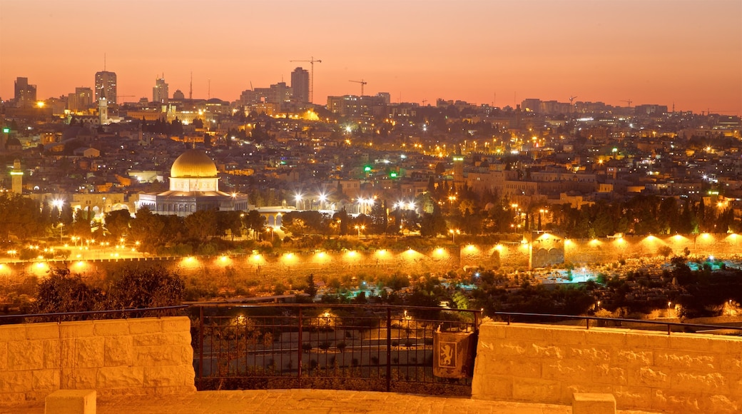 Mount of Olives showing a city, landscape views and night scenes