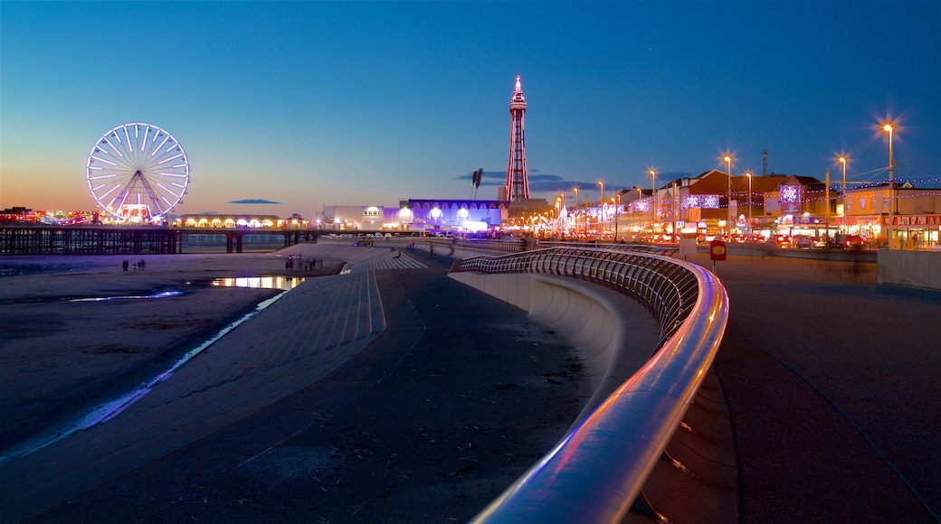 Blackpool Central Pier featuring night scenes, a coastal town and general coastal views