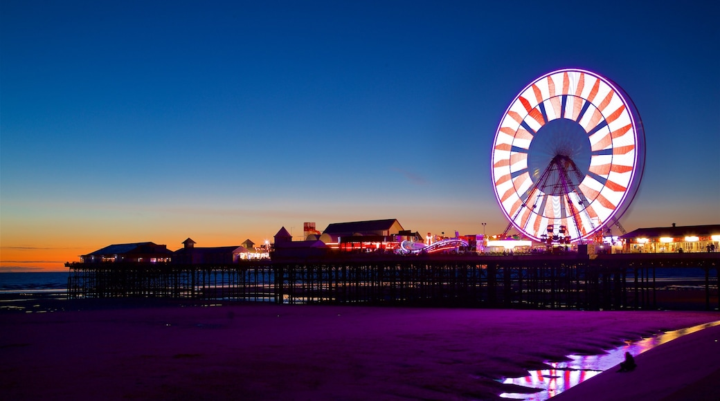 Blackpool Central Pier featuring general coastal views and night scenes