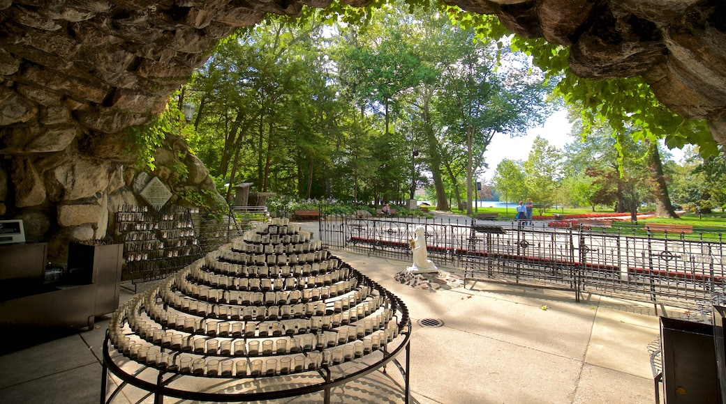 Grotto of Our Lady of Lourdes showing a park