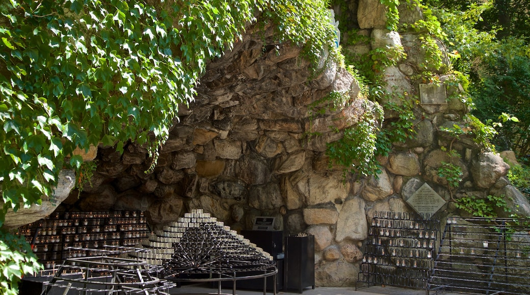 Grotto of Our Lady of Lourdes showing religious elements