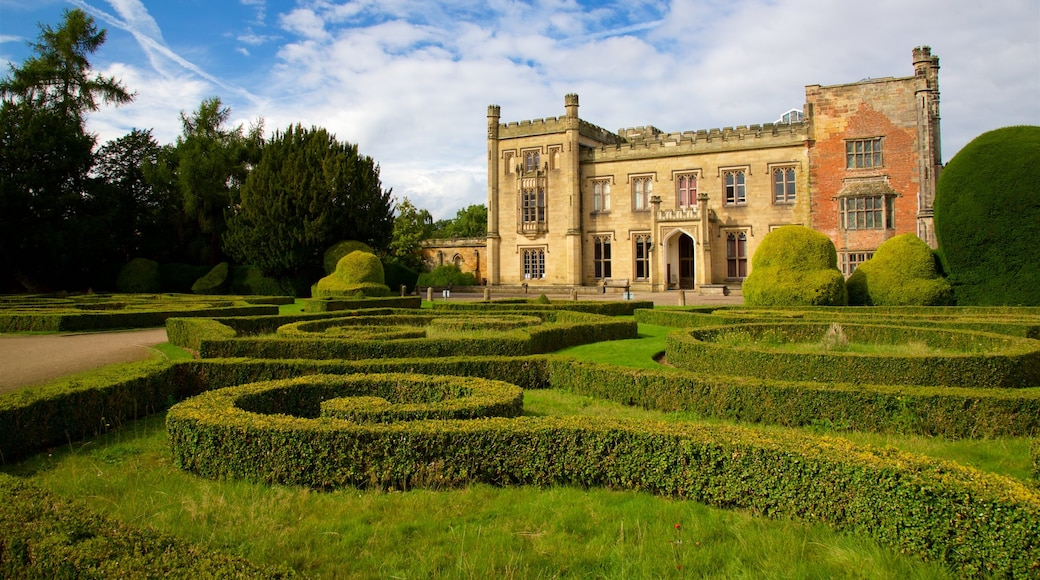 Elvaston Castle featuring a garden, a castle and heritage architecture