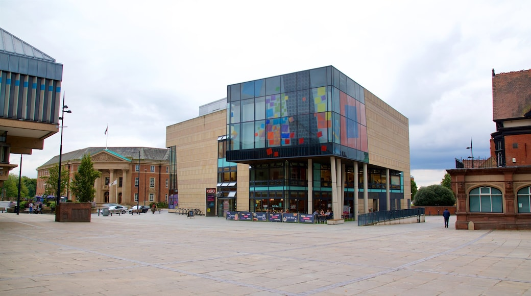Quad showing modern architecture, a city and a square or plaza