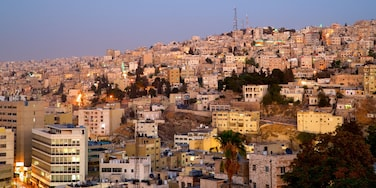 Amman showing a sunset, landscape views and a city