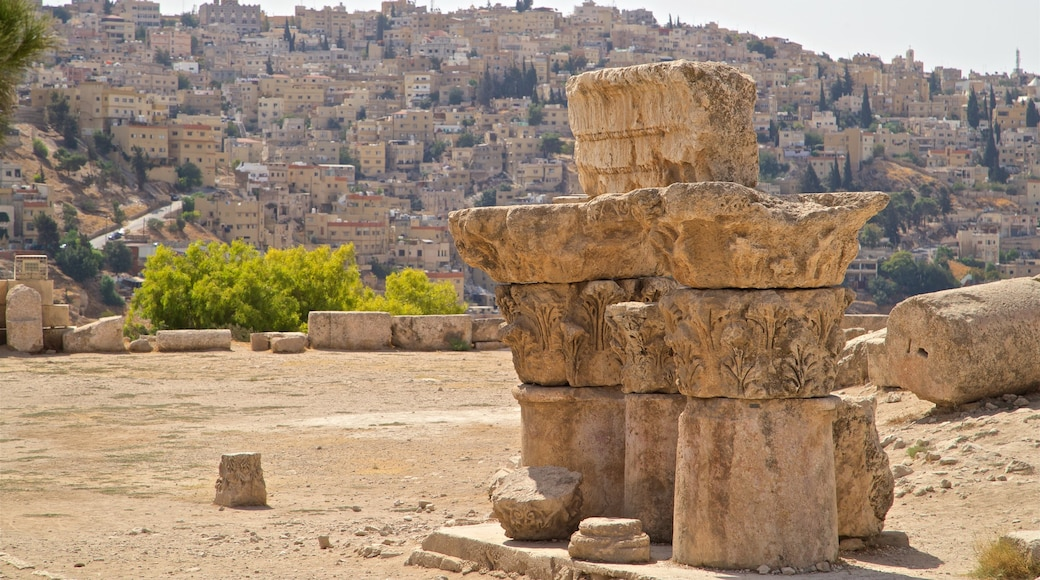 Amman Citadel showing heritage elements and a city