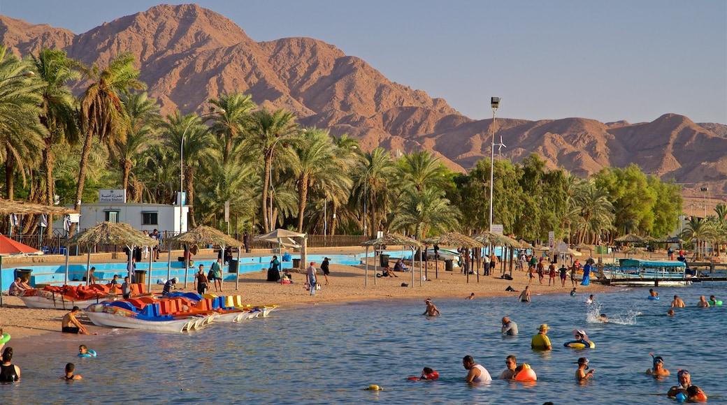 Aqaba som inkluderar en sandstrand, kustutsikter och bad