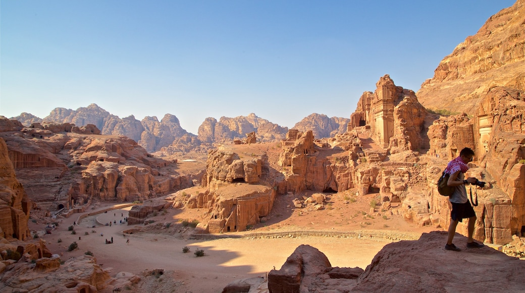 Petra featuring landscape views, a ruin and a gorge or canyon