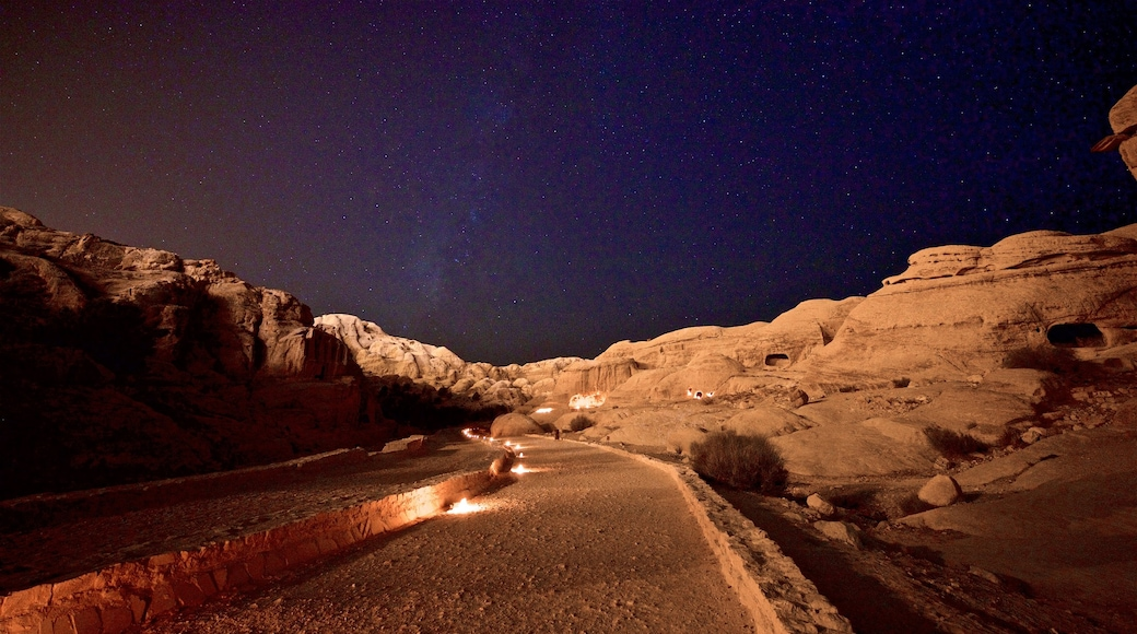 Petra which includes northern lights, night scenes and landscape views