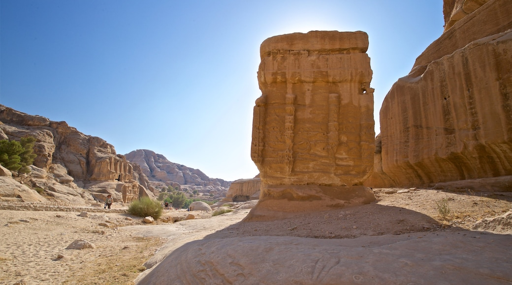 Wadi Musa which includes heritage elements, desert views and a gorge or canyon