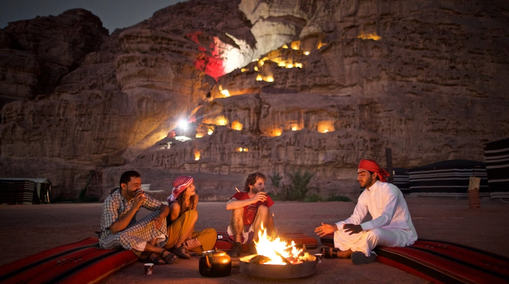 Wadi Rum which includes camping, night scenes and a gorge or canyon