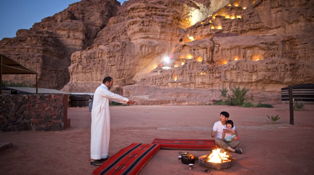 Wadi Rum showing night scenes, a gorge or canyon and desert views