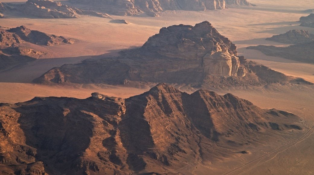 Wadi Rum featuring a gorge or canyon, landscape views and desert views