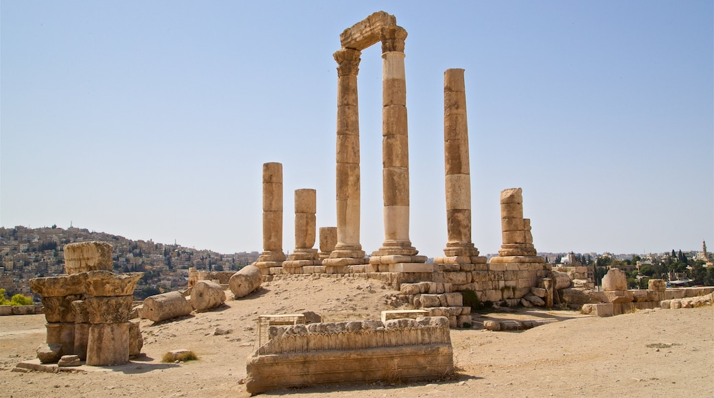 Temple of Hercules showing landscape views, heritage elements and a ruin