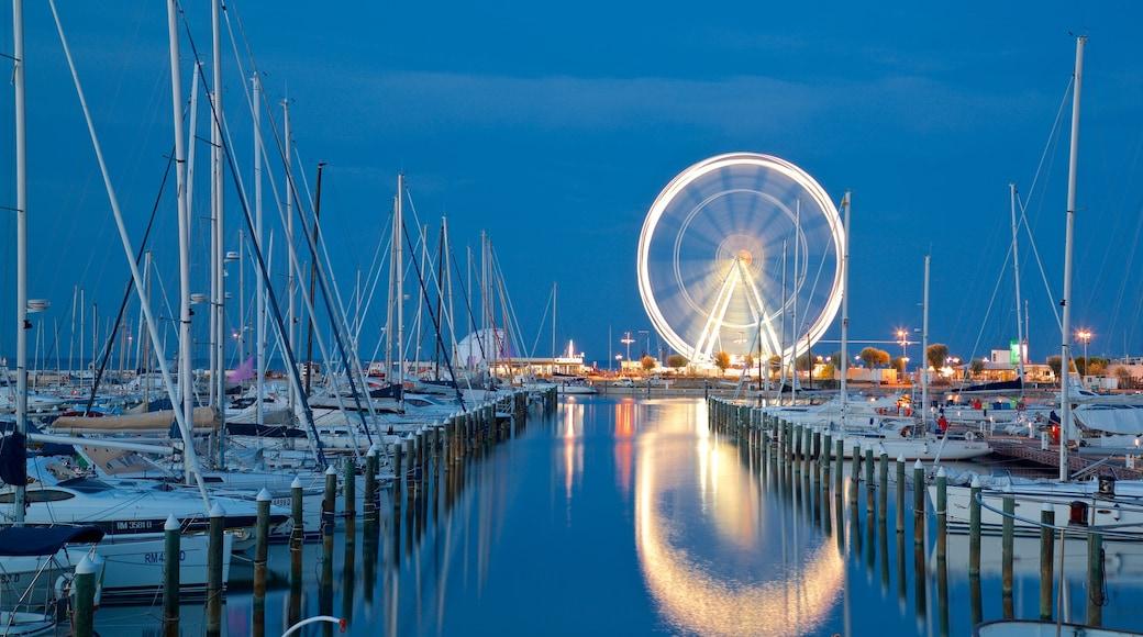 Ruota panoramica caratteristiche di baia e porto e paesaggio notturno