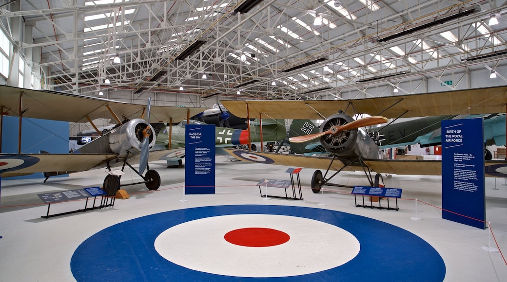 Cosford Royal Air Force Museum which includes aircraft, interior views and heritage elements