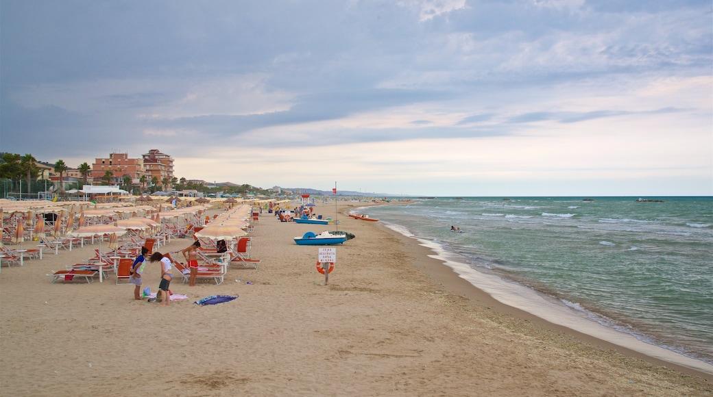 Roseto degli Abruzzi welches beinhaltet Sandstrand und allgemeine Küstenansicht