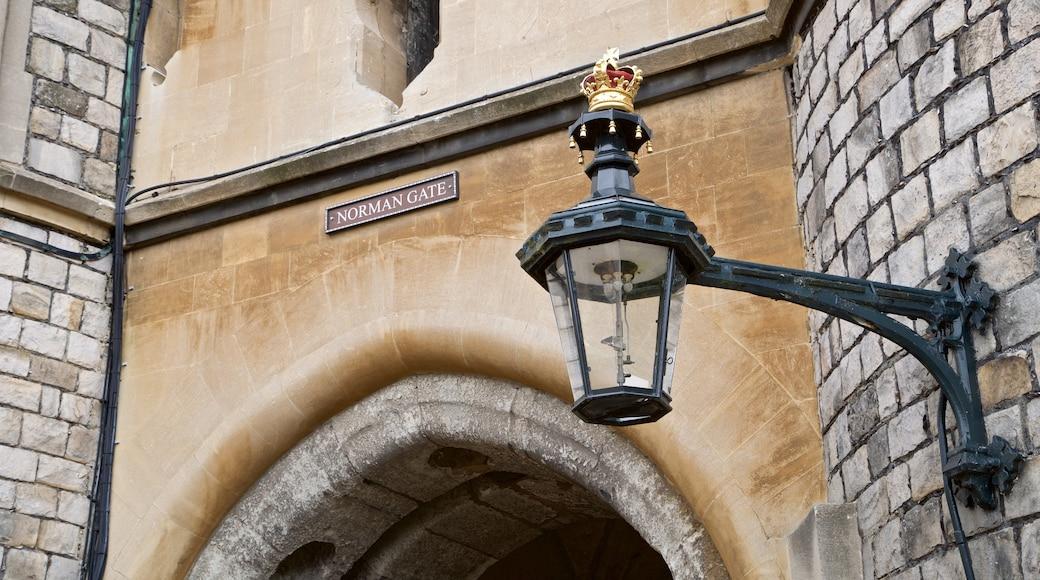 Windsor Castle showing heritage elements and signage