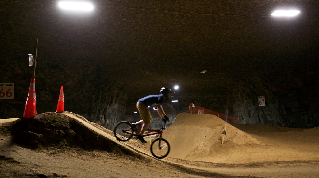Louisville Mega Cavern which includes night scenes, a sporting event and mountain biking