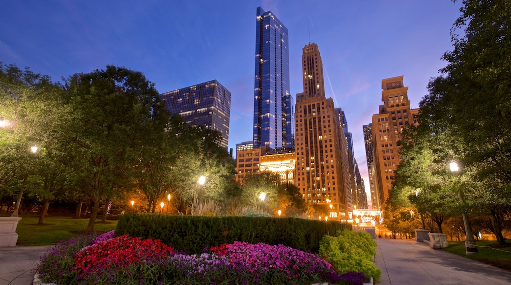 Millennium Park which includes a garden, wild flowers and a city