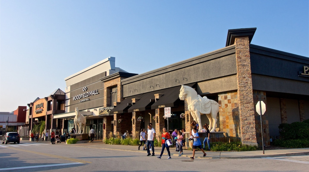 Woodfield Mall showing street scenes as well as a family