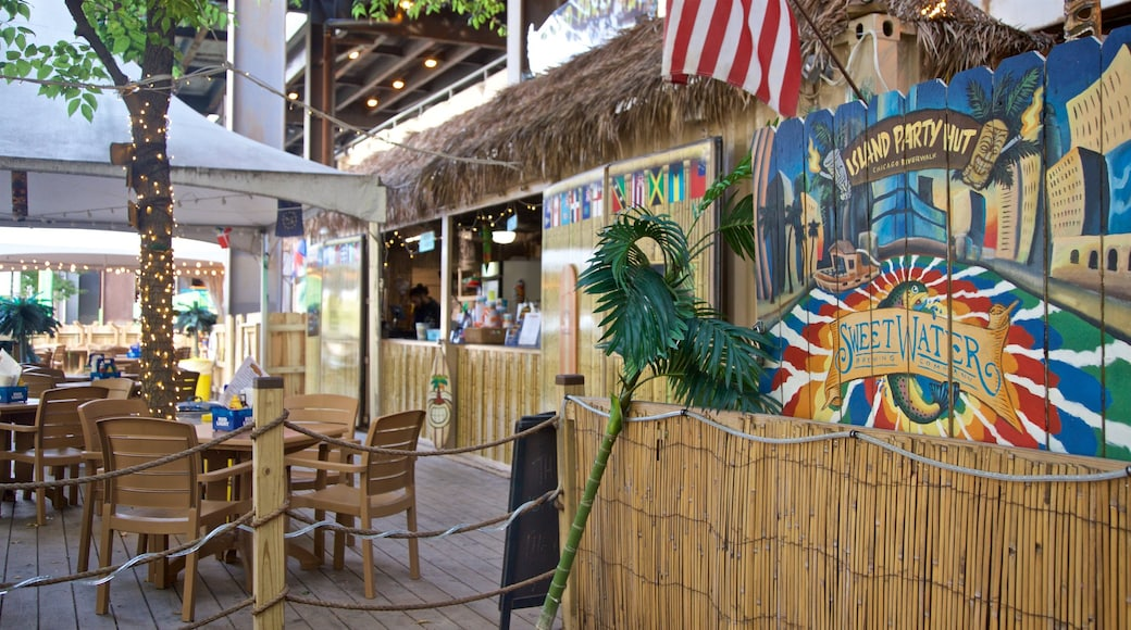 Chicago Riverwalk showing a beach bar and outdoor art