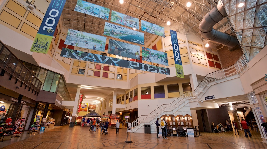 Navy Pier featuring shopping and interior views
