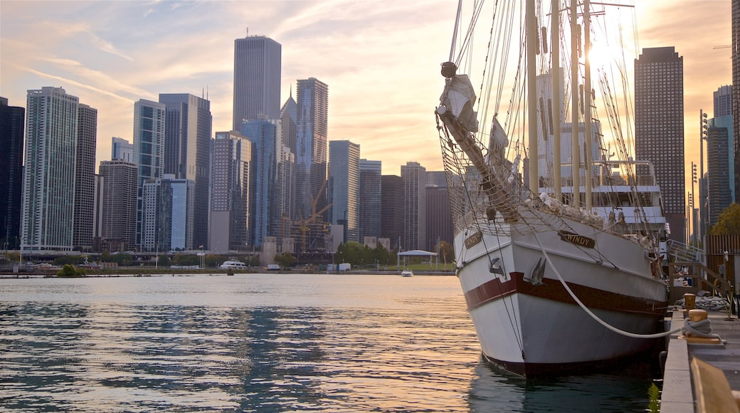 Navy Pier featuring a bay or harbour, landscape views and a sunset
