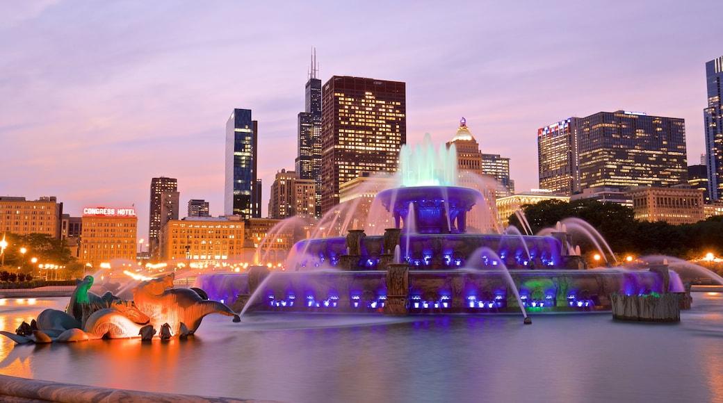 Buckingham Fountain เนื้อเรื่องที่ พระอาทิตย์ตก, เมือง และ น้ำพุ