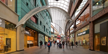 Cabot Circus Shopping Centre showing street scenes and shopping as well as a small group of people