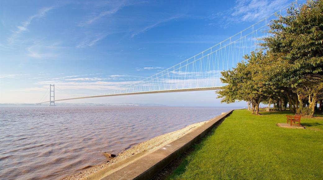 Humber Bridge which includes a bridge, general coastal views and a garden