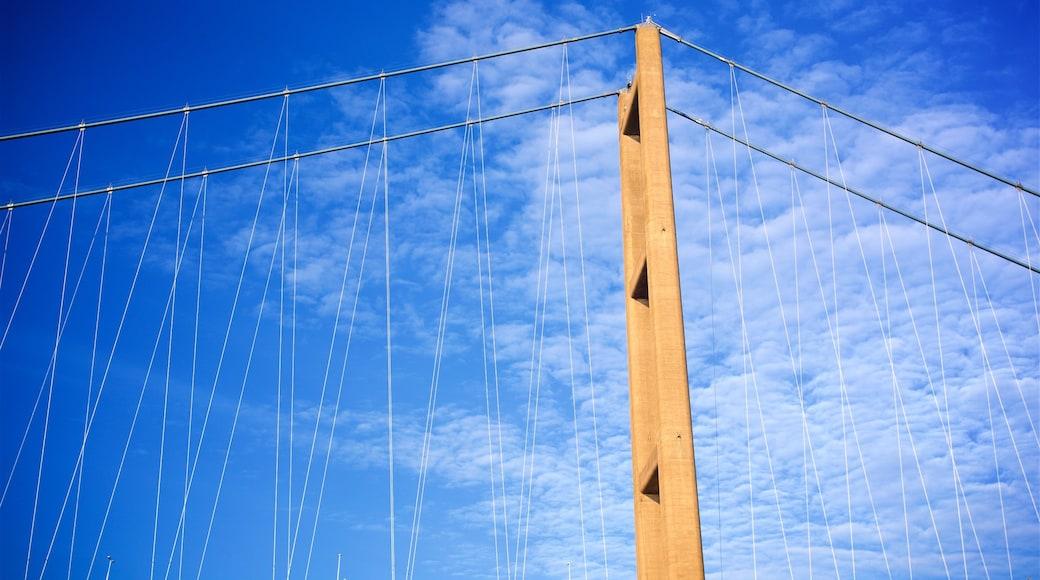 Humber Bridge showing a bridge