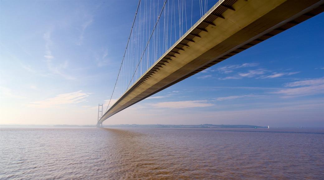 Humber Bridge showing a bridge, a sunset and general coastal views