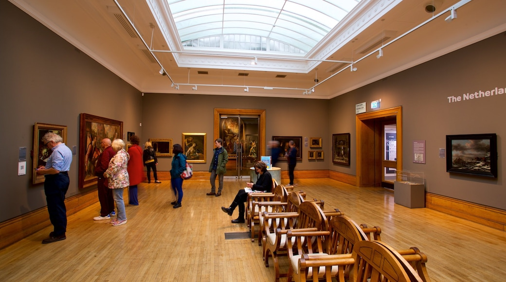 Ferens Art Gallery featuring interior views and art as well as a small group of people