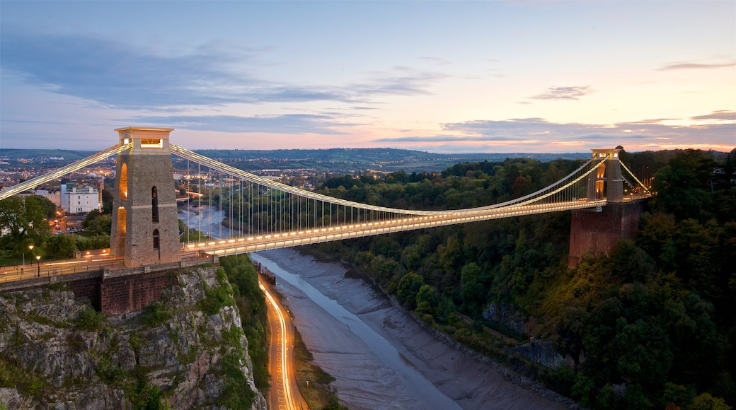 Clifton Suspension Bridge which includes a sunset, a bridge and a river or creek