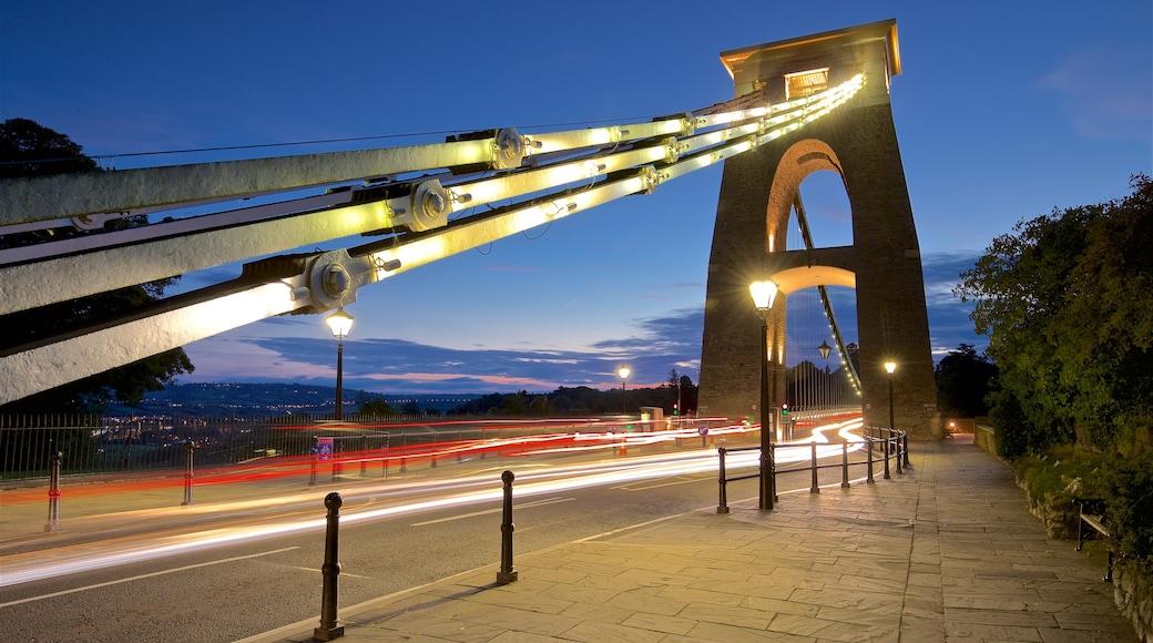 Clifton Suspension Bridge featuring a sunset, night scenes and a bridge